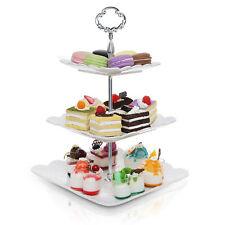 Metal & White Ceramic 3 Tier Serving Platter / Tea Party  Dessert Stand Tower