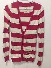 HOLLISTER Pink Stripe Long Cardigan Sweater Size Small Cotton Blend White Fall