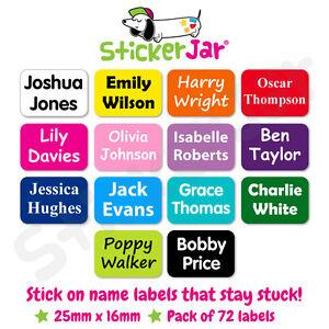 72 Personalised Stick On Name Labels Stickers School Kids Waterproof NL04