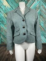 L.L. Bean Womens Blazer Jacket 12 Petite Wool Houndstooth Button Front Lined
