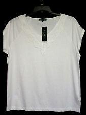NWT Ralph Lauren Wm 3X Knit Top White Cotton Lace Neck Pos Fit 2X NEW Cat Rescue