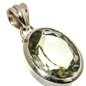 """GREEN AMETHYST NATURAL GEMSTONE 925 STERLING SILVER JEWELRY PENDANT 0.98"""""""