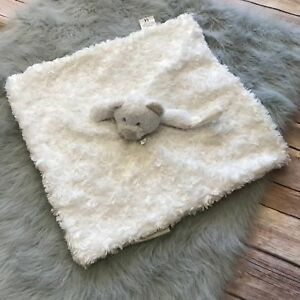 Blankets & Beyond Plush Gray White Bear Soft Furry Lovey Nunu Blanket Pacifier