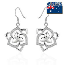 Wholesale 925 Sterling Silver Filled Clear Zircon Crystal Flower Dangle Earrings