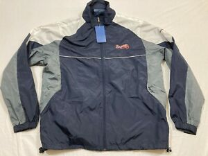 Rare REEBOK Atlanta Braves Blue Windbreaker Track Jacket MEN'S L Jersey Shirt