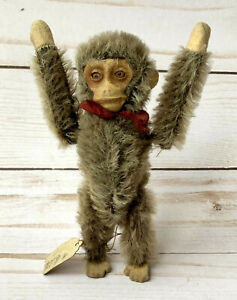 "Schuco Vintage Antique Prototype 5"" Wind Up Monkey Grey Original Handwritten Tag"