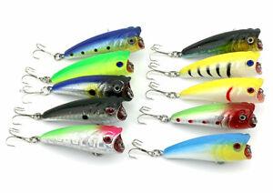 10pcs Popper Topwater Bass Fishing Lures 6cm/7g Hard Baits Fish Tackle Crank