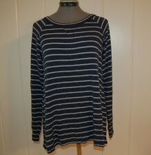 New PAPERKITE Striped Long Sleeved Shirt Small Blue Gray MADE IN USA Tee Top NWT