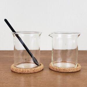 Bodum Bistro Tempered Glass Cream and Sugar Set, Cork Coaster, Black Stir Spoon