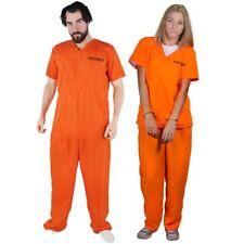 Unisex Jailbird Prisoner Convict Costume OrangeTop+trousers Halloween Fancydress