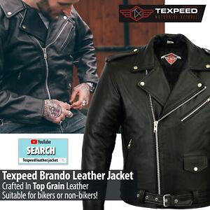 Leather Brando Motorbike Jacket Marlon Biker Motorcycle With Genuine CE Armour