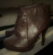 FIORE Brown Faux Leather Turn Over Top High Heel Lace Up Ankle Boots Size Uk 5