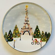 Anthropologie Christmas Time In The City Dessert Plate PARIS France NWT SOLD OUT