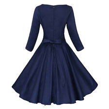 Hepburn Women Dress 50s Rockabilly Vintage  Party Evening Cocktail Navy L