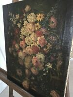 Excellent Italian Oil on Canvas Still Life Floral - Flowers