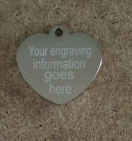 Engraved both sides Pet Tag ID tags, heart dog tag, cat tag, ID tags, ID discs