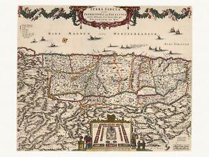 Old Antique Decorative Map of Holy Land Israel Palestine de Wit ca. 1682