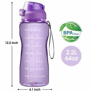 Motivational Water Bottle BPA Free 2.2L/64oz  Jug with Straw and Time Tracker