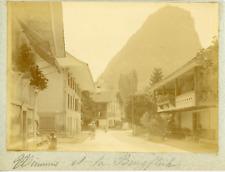 Suisse, Wimmis et la Burgflüh, ca.1900, vintage citrate print Vintage citrate pr