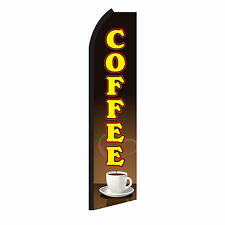 Coffee Brown Advertising Sign Swooper Feather Flutter Banner Flag Only