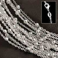 """Wholesale 10pcs 3mm Round Beads 925 Silver Plated Rolo Chain Necklace 16""""-30"""""""