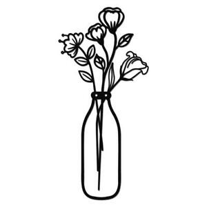 Metal Iron Flower Vase Wall Art Decoration Kitchen Black Hanging Sculptures Gift