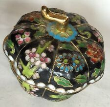 Vintage Chinese Cloisonné Bowl With Lid. Beautiful Gold Trim