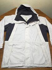 Mens S Eddie Bauer Parka Fleece Lined Beige Gray Jacket Parka Removable Hood