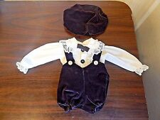 New Baby Doll Fancy Dark Brown Velveteen Bloomers & Hat w/ Ivory Shirt Sz 18-20""