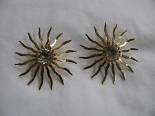 VINTAGE SARAH COVENTRY GOLD TONE WITH CLEAR RHINESTONE SUNBURST CLIP ON EARRINGS