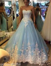 Blue Cinderella Wedding Dresses Princess Appliques Bridal Gowns Custom made 2017