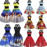 Women Vintage Christmas Printed Halter Sleeveless Evening Party Prom Swing Dress