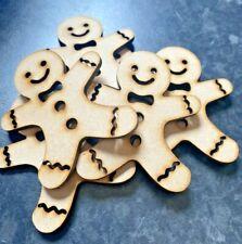 Wooden Laser Cut Gingerbread Man Embellishment 3mm MDF 6 Pack Christmas Crafts