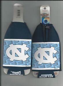 UNC North Carolina Tar Heels Koozie Set of 2 Drink Koozies Zipper Bottle