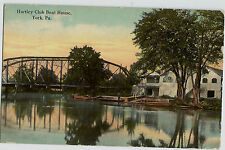 York PA Hartley Club Boat House Vintage Postcard