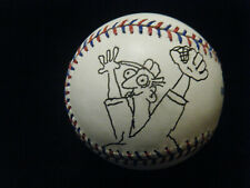 """Steve Moore """"In The Bleachers"""" autographed baseball with sketch 2002 OD"""