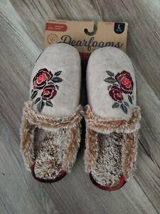 Dearfoams Knit Clog Memory Foam Slippers Women's floral print NWT Large