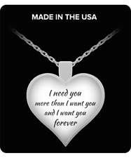 """I Need You - Gift For My Wife - Custom Silver Plated 1"""" Heart Pendant Necklace"""