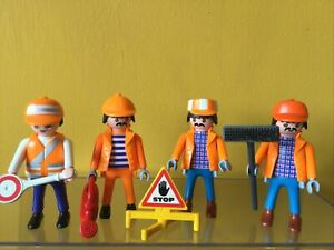 Playmobil Road Construction Figures Bundle Preowned