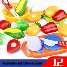 12PC schneiden obst gemüse pretend play kinder kid pädagogisches spielzeug set