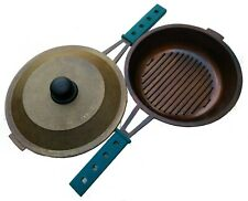 "GauchogrillX® Grill Pan Seasoned Cast aluminum 10.5"" -26cm Lid & silicone handle"
