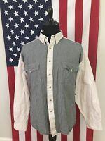 vtg Wrangler Gingham Flannel Denim Western Shirt mens XL color block Black 18308