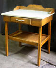 Vintage Antique Wood Wooden Microwave Oven Stand Side End Table Cabinet Storage