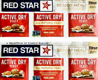 RED STAR ACTIVE DRY YEAST- 2 STRIPS =6 PACKETS 1/4 OZ ALL NATURAL YEAST