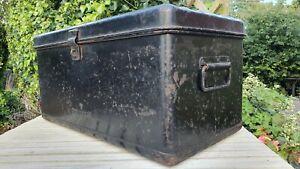 Vintage Black Metal Military Toolbox Box Chest