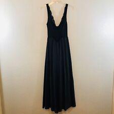 Vtg 1980's Olga 92270 Black Long Flowing Night Gown Sz L