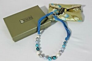 "HONORA COLLECTION PEARL NECKLACE 18 - 20"" English Blues /Multi-Colored Blue"