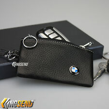 BMW Key Bag Holder 100% Genuine Cow Leather Remote Cover Fob Case Ring Chain