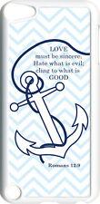 Chevron Faith Anchor Romans 12:9 Design on iPod Touch 5th Gen 5G White TPU Case