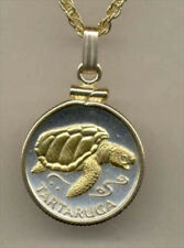 Custom Silver and Gold Coin Necklace, Cape Verde 1 escudos, Sea Turtle, S-187
